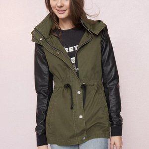 Garage Faux Leather Sleeve Jacket